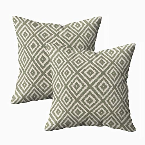 - Musesh Pack of 2 Ikat Diamond Pattern in Olive Green and Cream Cushions Case Throw Pillow Cover for Sofa Home Decorative Pillowslip Gift Ideas Household Pillowcase Zippered Pillow Covers 20X20Inch