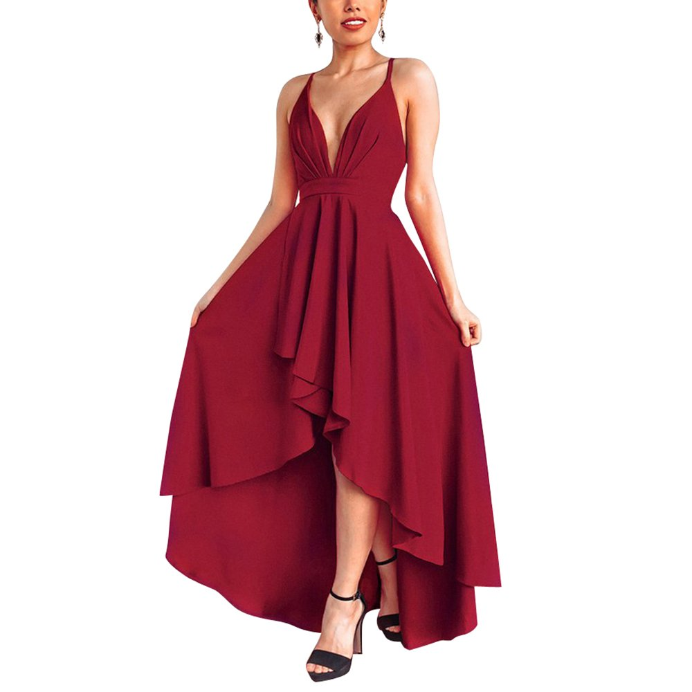 YS.DAMAI Women's Sexy V Neck Sleeveless High Low Hem Elegant Wrap Dress Cocktail Evening Party Dresses (X-Large, X Wine Red)