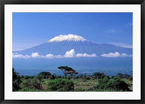 Africa, Tanzania, Mt Kilimanjaro, landscape and zebra by Gavriel Jecan / Danita Delimont Framed Art Print Wall Picture, Black Frame, 42 x 30 inches by Great Art Now