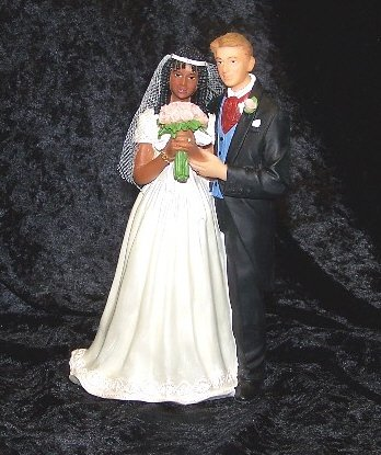 Amazon.com: Biracial Wedding Cake Topper-black Bride and White Groom ...