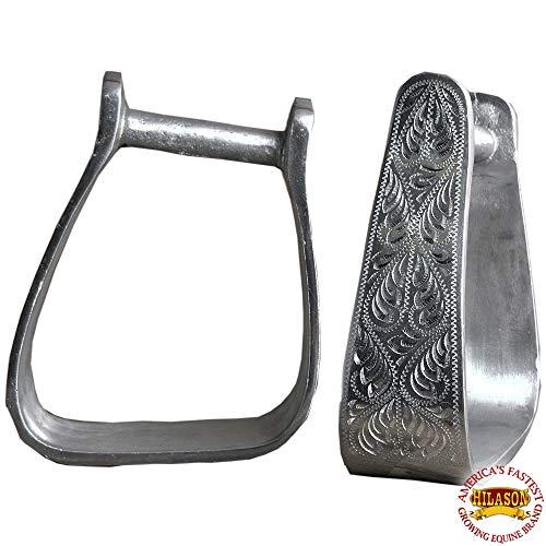 HILASON Western TACK Horse Engraved Aluminium Angled Stirrups