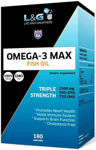 Omega-3 Fish Oil 2500mg with Highest Triglyceride EPA & DHA   Heart, Brain & Joint Support  Non-GMO & Gluten Free ~ Natural 180 Fish Gel Capsules, Lemon -