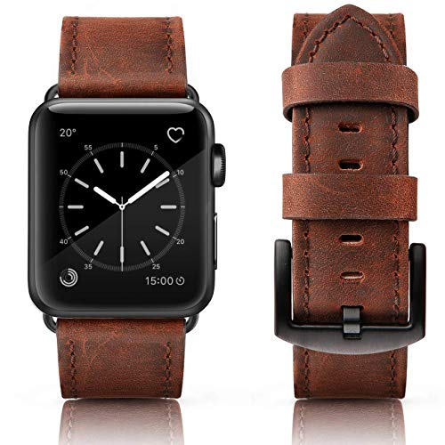 SWEES Leather Bands Compatible Apple Watch 42mm 44mm, Genuine Leather Retro Design Strap Compatible iWatch Apple Watch Series 4 Series 3 Series 2 Series 1, Sports & Edition Men, Retro Cinnamon