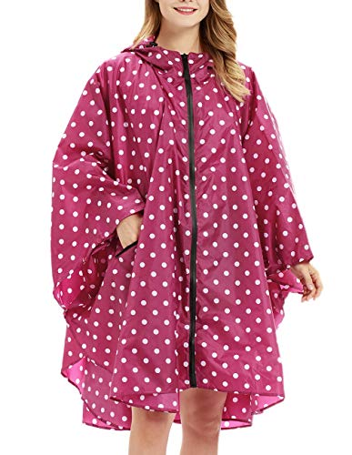 Buauty Ladies Rain Jacket Lightweight Red Polka Dot Printed Rian Coats]()