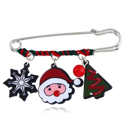s Tree Santa Clause Pom Candy Ball Backpack Brooch Pin for Women (Christmas tree,Santa,Snowflake) (Snowflake Design Key Ring)