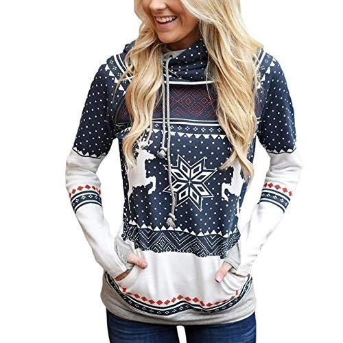 DEATU Sale New Christmas Casual Shirt Women Dots Elk Snowflake Print Tops Hoodies Sweatshirt Pullover Blouse Hot Deal(Navy a,Small