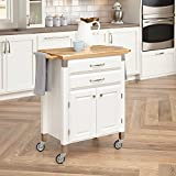 The home styles prep and serve cart's compact design is ideal for small spaces needing a bit more storage and work surface. The style is clean and simple and the white body and natural finished top will coordinate well with many decorating schemes. T...