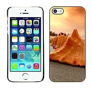 Cubierta de la caja de protección la piel dura para el Apple iPhone 5 / 5S - shell peach orange sunset clouds beach