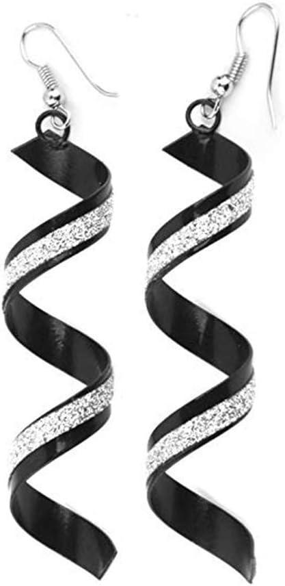 WFH Exquisito Helado Espiral Largo Perforó Los Pendientes de Gota de Curley Twisted Lazos Del Gancho Cuelga Los Pendientes Zarcillos de Desgaste Vida Cotidiana