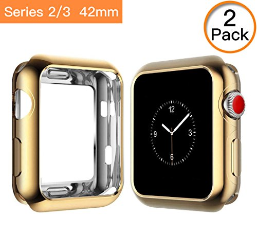 Tourist for Apple Watch 3 Case Soft Plated TPU Screen Protector All-around Protective Case High Defination Clear Ultra-Thin Cover for Apple iwatch 42mm Series 3 and Series 2 (Gold)