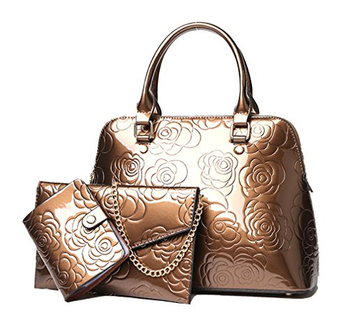 Gold Bag Handbag Set Wallet Leather Embossed Women's 3 With Purse Pieces Matching Shoulder Show Patent Yan q0awXRZ
