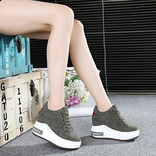ginnastica libero dodici da dentro invisibile donna con turismo basa scarpe uno spessore di alti scarpe tacchi alto spesso da tempo green il centimetri HBDLH primavera w1IUPn