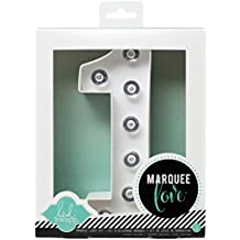 Heidi Swapp Marquee Love 8-inch Marquee Kit by American Crafts | Number 1 | Includes DIY marquee number, light strand, 8 clear lightbulbs, and tracing template