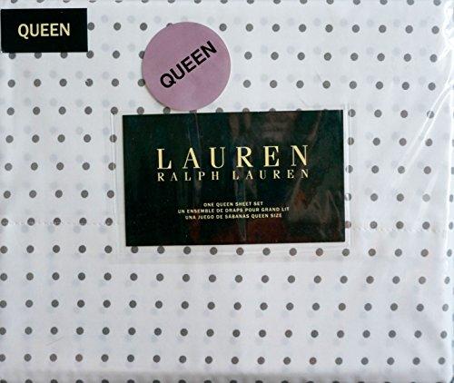 Ralph Lauren 4 Piece QUEEN Sheet Set Medium Gray Polka Dots on ()