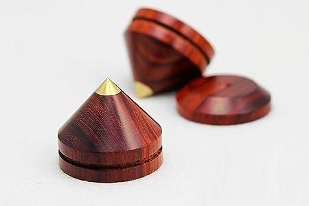... en 4 paquetes de madera con base de cobre puro para patas HIFI altavoz Spikes conjunto caja de altavoz pies Base soporte para amplificador/altavoz para ...