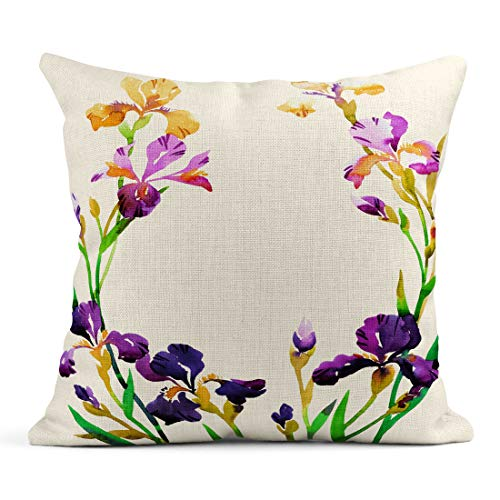 Tarolo Throw Pillow Covers Watercolor Floral Wreath Iris Flowers on White Colorful Botanical Great for Placing Text Phrases Linen Cushion Cases Home Decorative Pillowcases 18 x 18 inches