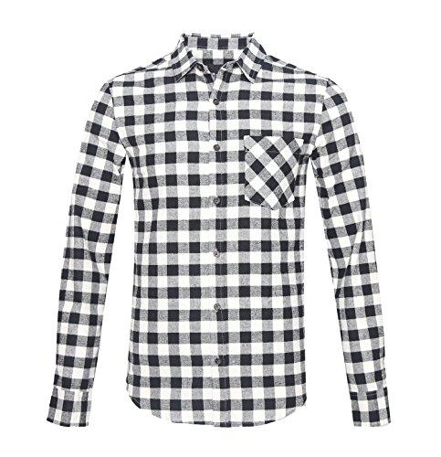 AVANZADA Men's Slim Fit Long Sleeve Plaid Button Down Flannel Shirt Black - Ll Australia Bean