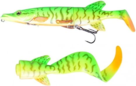 pike muskie lure hard body+2 soft tails Savage Gear 3D Hybrid Pike 25cm 130g