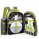 Search : ALLCAMP Picnic Backpack for 4 Person with Cooler Compartment, Detachable Bottle/Wine Holder, Fleece Blanket, Plates and Cutlery Set, Green