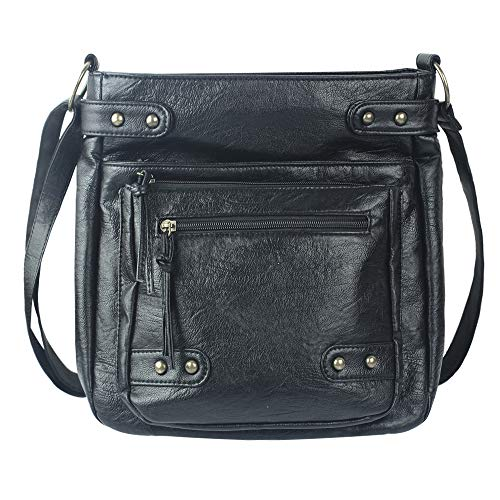 Black Soft Leather Synthetic - PParth Soft Washed PU Leather Crossbody Purse Multi Pocket Vertical Bag Shoulder Satchel for Women