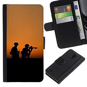 KingStore / Leather Etui en cuir / Samsung Galaxy S4 IV I9500 / Soldaty oruzhie armiya