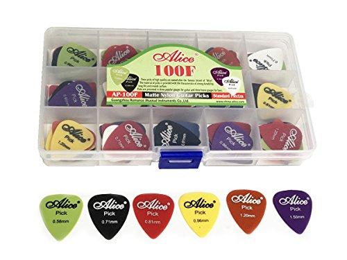 100pcs Alice Matte Nylon Guitar Picks Plectrums Various Colors Six Gauges 0.58/0.71/0.81/0.96/1.20/1.50mm + Storage Box 15 Grid Case