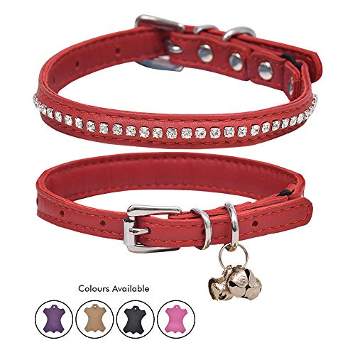Ultra Soft Real Lamb Leather Glass Crystal Lined Cat Collar with Break Away Safety Elastic Embellished with Detachable Handcrafted Indian Bells (One Size, Red)