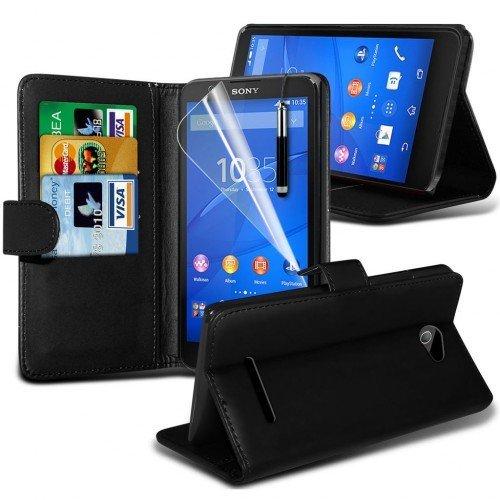 Sony Xperia E3 Cubierta del caso con cuero (Negro) Plus de regalo libre, Protector de pantalla y un lápiz óptico, Solicitar ahora mejor caja del teléfono Valorado en Amazon! By FinestPhoneCases