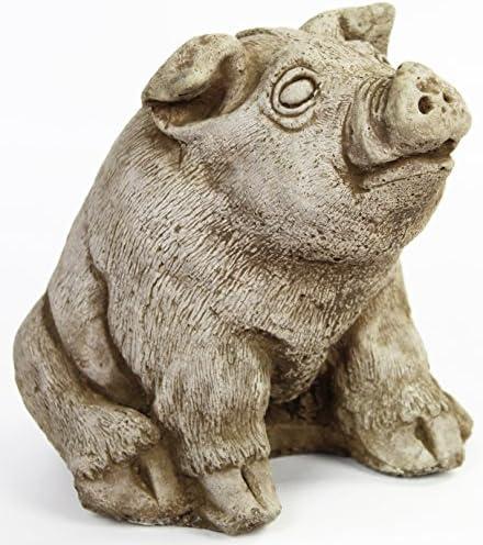 Sleeping Pig Concrete Wall Plaque Cement Pig Figure Cast Stone Garden Statue Pig Art Decor