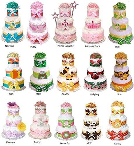 3 Tier Themed Diaper Cake - Butterfly, Ladybug, Fish, Yellow Duck, Snail, Pig, Cow, Zebra, Giraffe, Lion, Princess, Frog, Flowers, Bunny, Nautical, Sports, Monkey, Bumble Bee, Owl