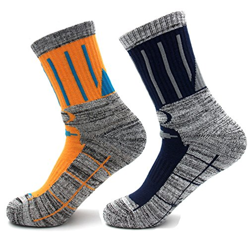 LILUO Men's 2 Pairs Performance Outdoor Sports Hiking Trekking Crew Cotton Socks (Orange + blue)
