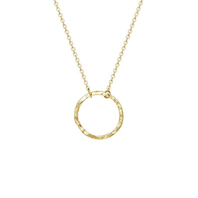 913990473ed15e Befettly Womens Karma Necklace 14K Gold Fill Dainty Round Pendant Necklace -Round