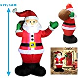 joiedomi 6 foot inflatable santa claus led light up giant christmas xmas inflatable santa claus carry