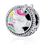 BAMOER 925 Sterling Silver Unicorn Charm Bead Enamel Charm Fit Bracelet Necklace Perfect Jewelry For Women Girls
