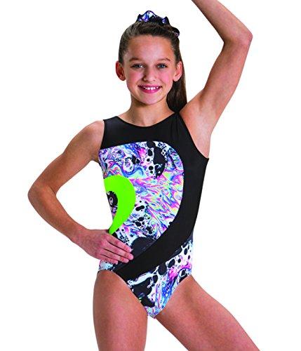 Motionwear Gymnastic Live  Love Lava Print Silkskyn Insets Front Eclipse Open Back Leotard, Black Print, Small Child