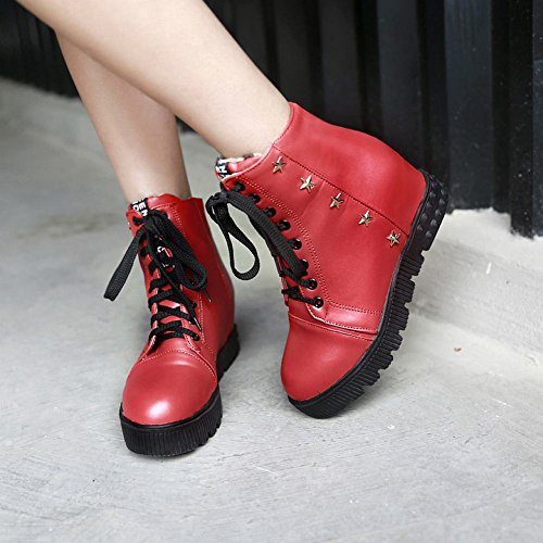Boots Star Comfort Short Womens Wedge Lace Fashion Shaped Red Carolbar Heel Studded up 1wAn6qxxPC