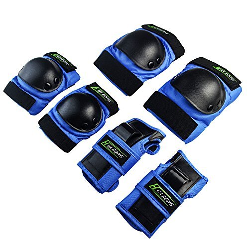 Huarong Kids adult Knee Pads Knee & Elbow Pads Set Gear Pad for Skateboard Skating Sports (Blue, XS)