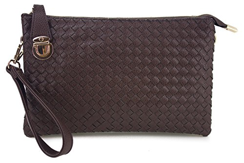 Proya Collection Buckle Lock Woven Leather Large Wristlet Clutch by PROYA