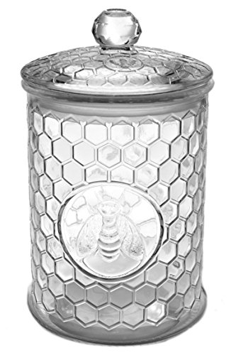 Large 49oz Glass Beehive 3-D Bee French Display Kitchen Canister Storage Jar