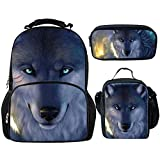 Showudesigns Wolf Large Schoolbag Backpack and Small Lunch Bag Pencil Case for College Kids