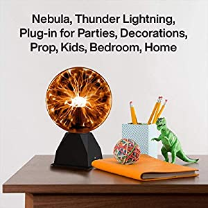 Katzco Orange Interactive Plasma Ball - 7.5 Inch - Nebula, Thunder Lightning, Plug-in - for Parties, Decorations, Prop, Home