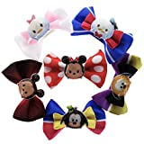 TownleyGirl Disney Tsum Tsum Bow Set, 6 Boutique Ribbon Hair Bows For Teens, Girls, Toddlers