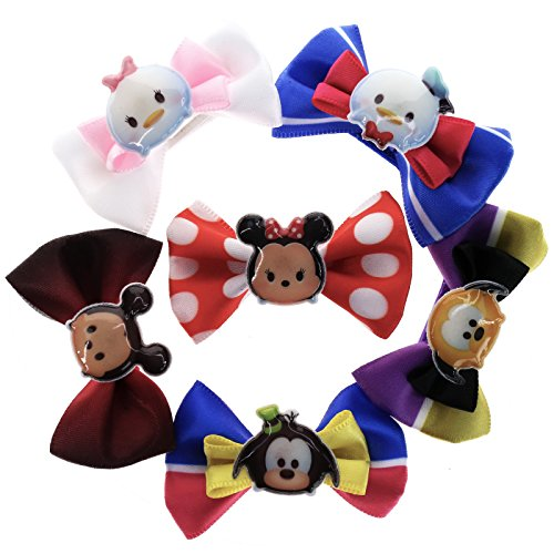TownleyGirl Disney Tsum Tsum Bow Set, 6 Boutique Ribbon Hair Bows For Teens, Girls, - Items Dollar Wholesale Free Shipping