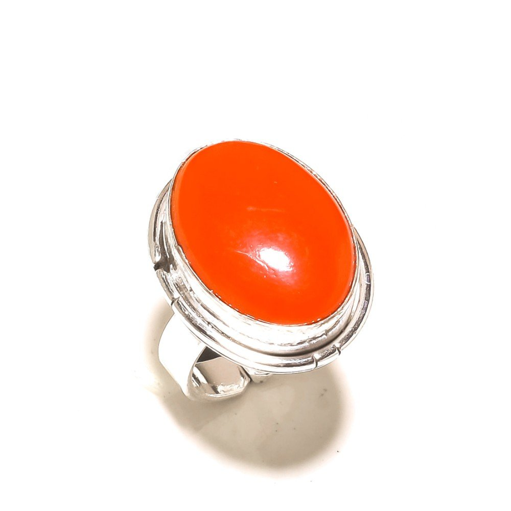 Sizable Outstanding Red Coral 925 Sterling Silver Plated 8 Grams Ring Size 5.5 US