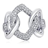 tiffany and company earings - Sterling Silver Cubic Zirconia Love Link Ring, 23mm (9)