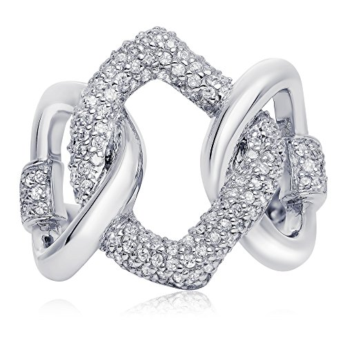 Sterling Silver Cubic Zirconia Love Link Ring, 23mm - Hours Mall Dolphin