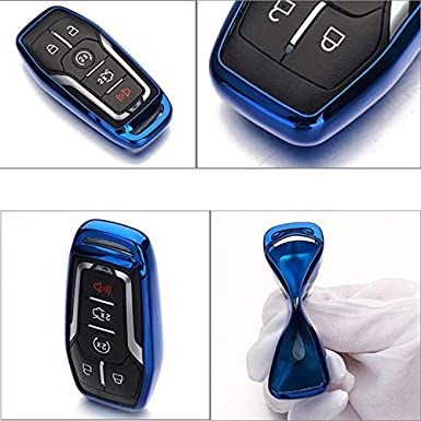 4 5 Buttons TPU Smart keyless Entry Remote Key Fob case Cover Keychain for Ford Mustang F-150 F-450 Explorer Taurus Fusion Edge,Lincoln MKZ MKC MKX TM Pink Royalfox