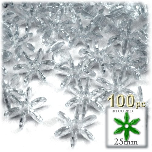 (The Crafts Outlet 100-Piece Round Faceted Plastic Transparent Starflake Beads, 25mm, Clear)