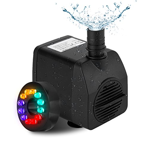 Fannel 220 GPH (800L/H, 15W) Submersible Water Pump for Fish Tank, Aquarium, Fountain, Pond, Small Silent 12 LED Colorful Pump Lights with 2 Nozzles, 6 Feet Power Cord (Black) Led Fountain Light