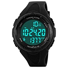 Womens Pedometer Fashion Sports Chronograph Waterproof Electronic Watches For Kids Black